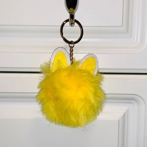 Yellow Fluffy Pom Pom with Bunny Ears Keychain